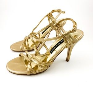 Chinese Laundry Gold Strappy Heels Size 6.5